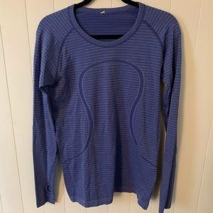 Lululemon Swiftly Tech Striped Long Sleeve - Blue